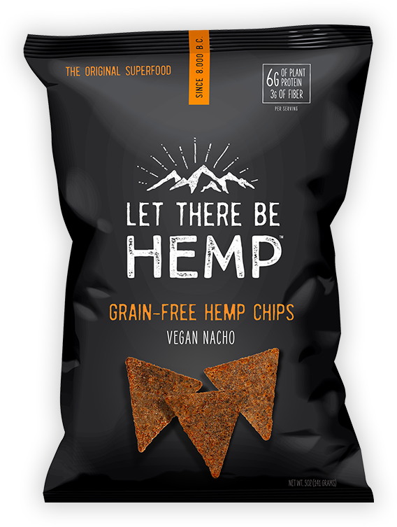 A bag of Let There Be Hemp Vegan Nacho Grain-Free Hemp Chips