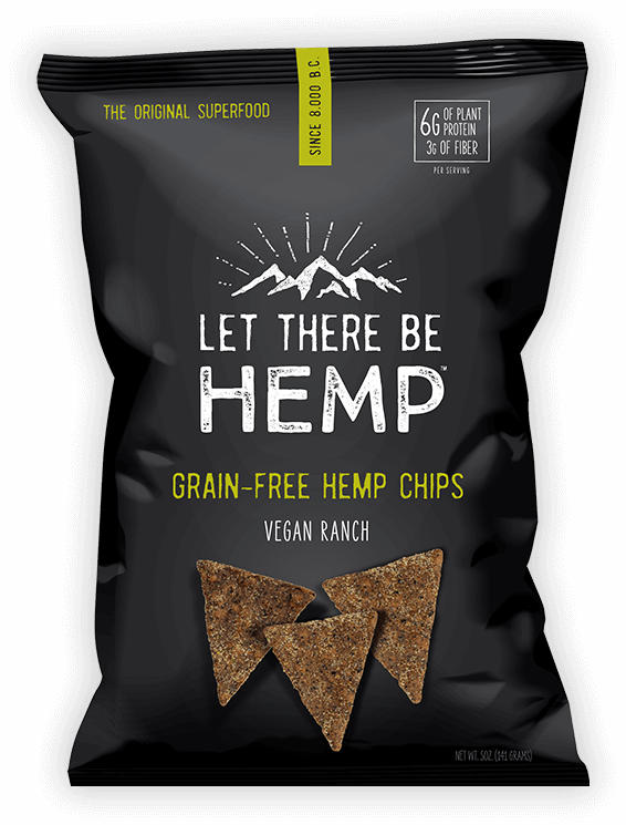 A bag of Let There Be Hemp Vegan Ranch Grain-Free Hemp Chips